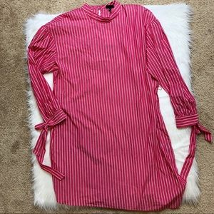 Who What Wear Bow Sleeve Striped Shirt Dress
